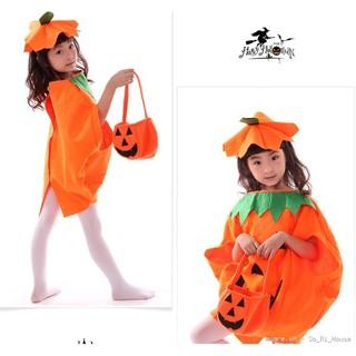 Bộ hóa trang bí ngô ngộ nghĩnh cho bé chơi Halloween từ 3-7 tuổi