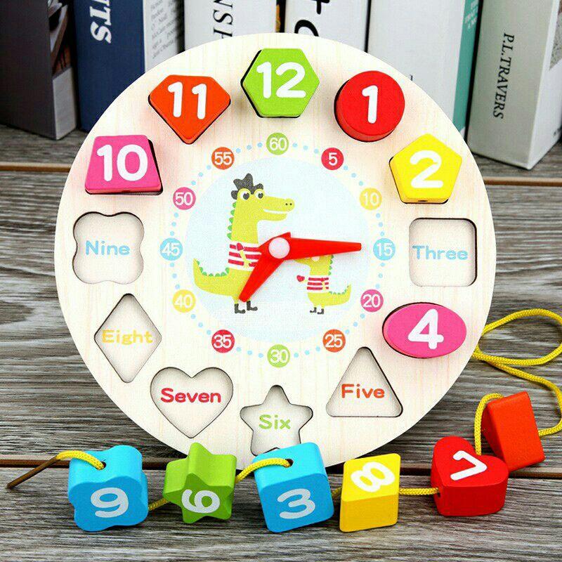 Đồng hồ Gỗ xếp hình (Kèm dây xâu chuỗi hạt)