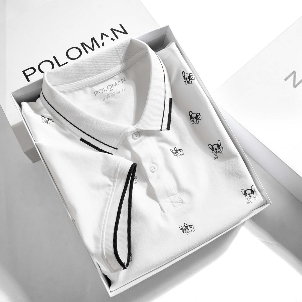 Áo thun Polo nam Dobos in tràn thân, vải cá sấu Cotton xuất xịn,chuẩn form,trẻ trung- năng động,Trắng P24 - POLOMAN
