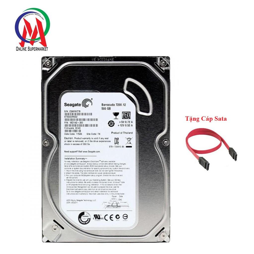 Ổ CỨNG PC 500GB SEAGATE BH 24 THANG + Tặng Cáp SATA