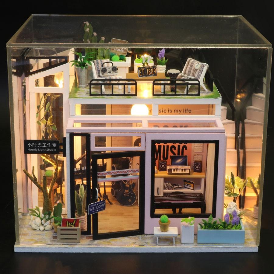 Nhà búp bê Mô hình láp ghép DIY ROCK STUDIO M093