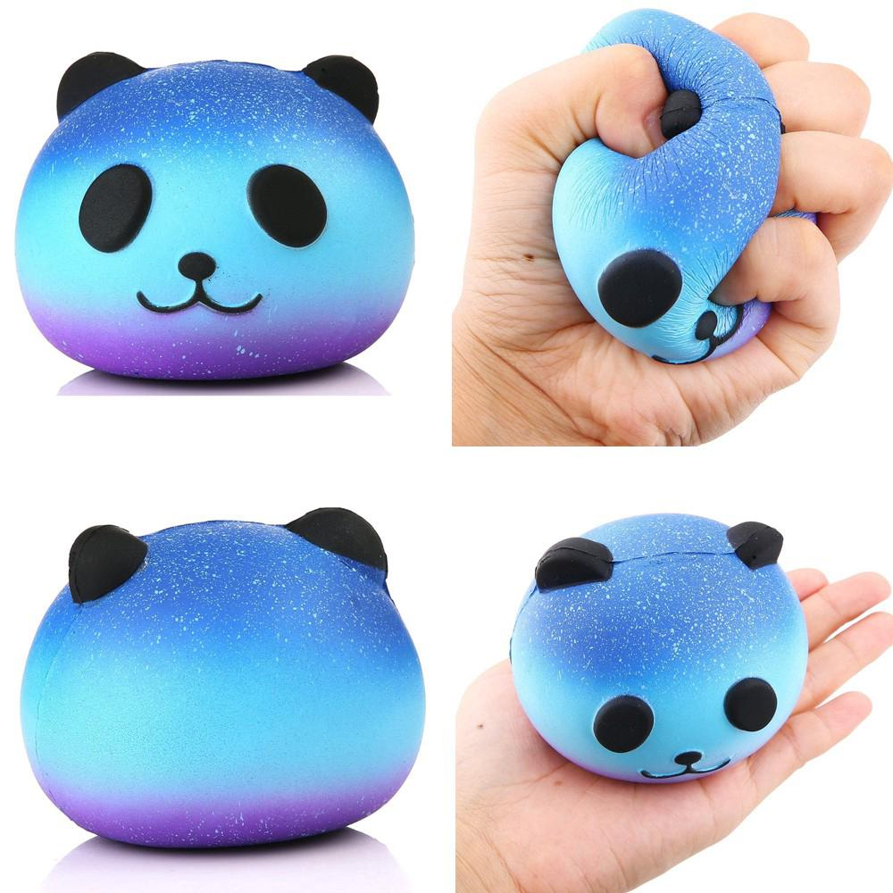 Kawaii Emoji Face Colorful Panda Head Squishy Sky Symphony Slow Rising Fun Toy