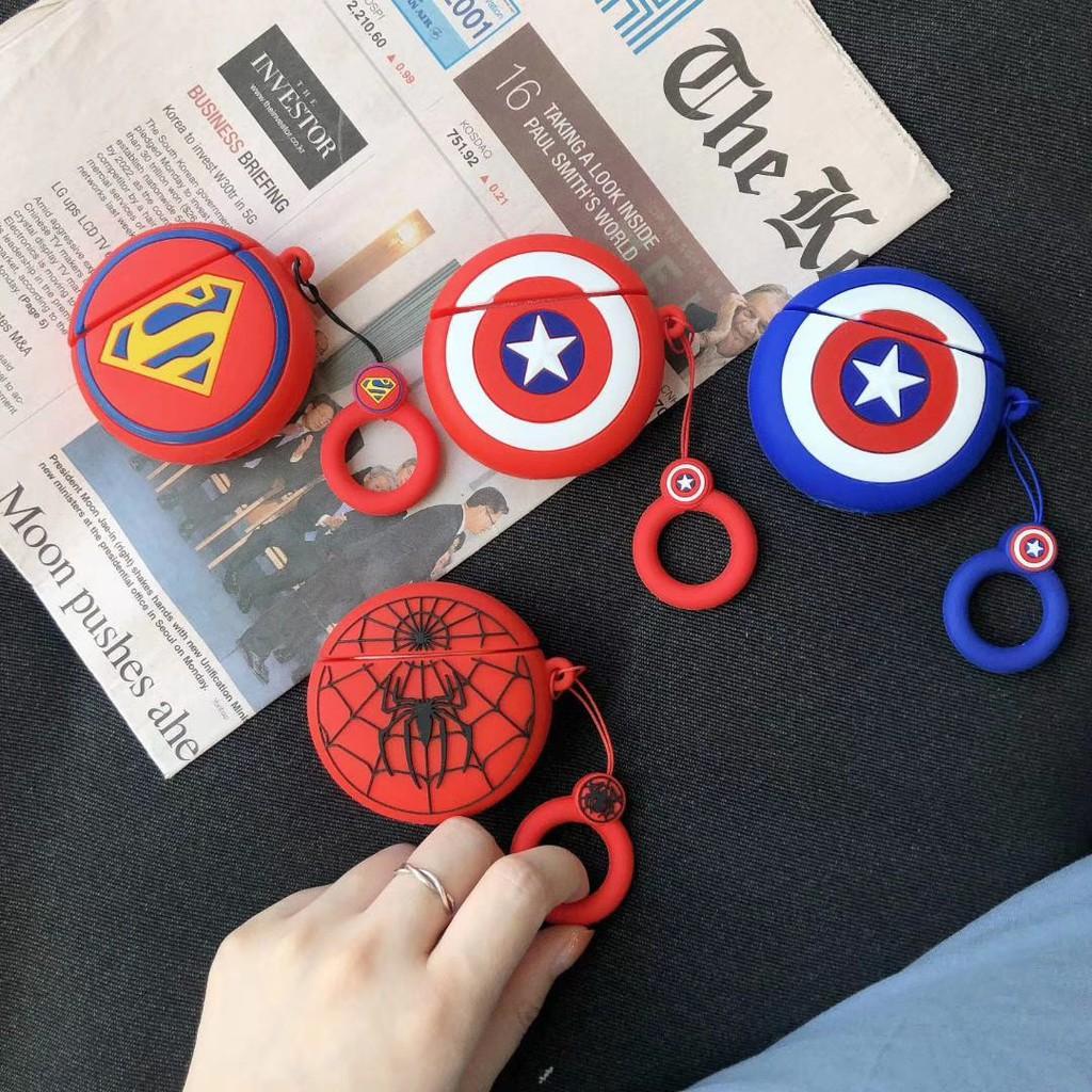 Case Airpods hình Marvel Siêu anh hùng chất liệu silicon bảo vệ tai nghe