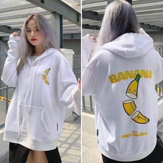 [SIÊU NGẦU] Áo khoác hoodie CHUỐI BANANA nỉ bông ulzzang đôi nam nữ unisex form rộng dây kéo zip dày giá rẻ đẹp