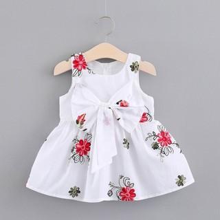Đầm xòe sát nách họa tiết hoa xinh xắn cho bé gái