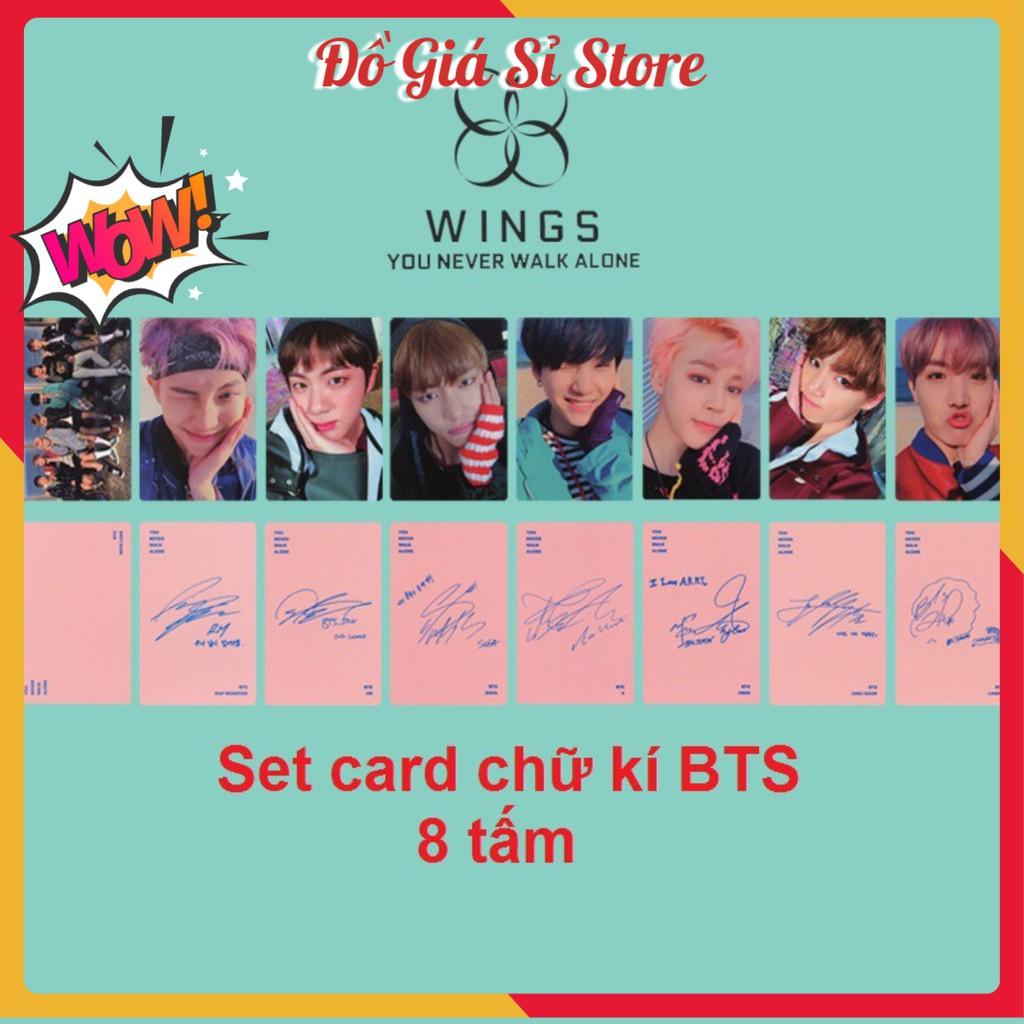 Set card có chữ kí BTS - hồng [Đơn 50k tặng kẹp tóc Hàn Quốc cực xinh]