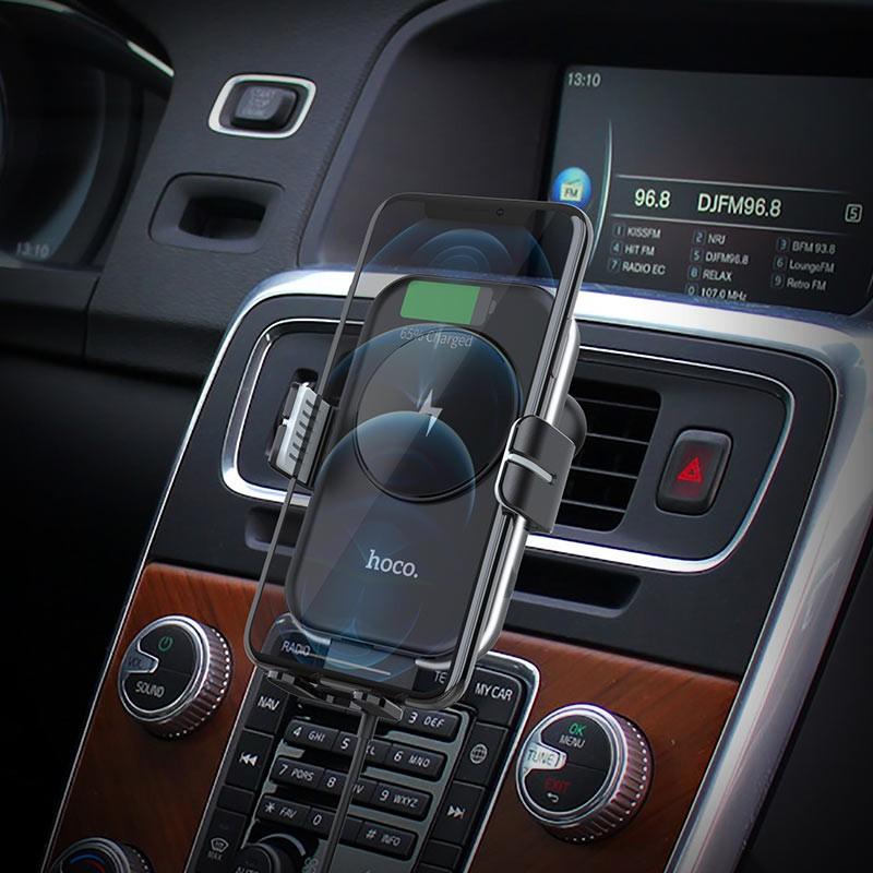 Giá đỡ điện thoại kiêm sạc không dây 15W trên oto xe hơi Hoco CB80 - vienthonghn