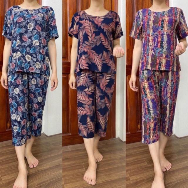 Bộ lanh trung niên cho mẹ - Bộ mặc nhà trung niên lanh Gia Huy ống sớ rộng lửng cho người già người lớn tuổi