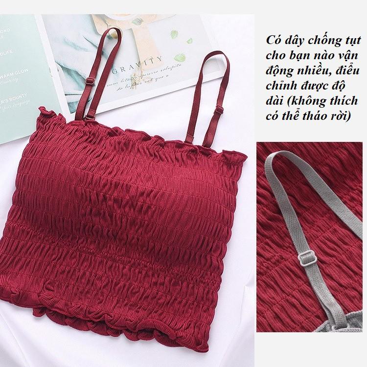 ÁO QUÂY NHÚN🌼[FREESHIP - LOAI 1]Áo hai dây nhún chun siêu xinh hàng Quảng Châu cao cấp, có đệm lót và dây điều chỉnh