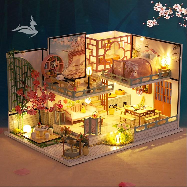 Nhà búp bê kiểu Nhật tự làm – Tặng KHUNG BẢO VỆ, dụng cụ và keo dán [Nhà có nội thất & đèn LED]