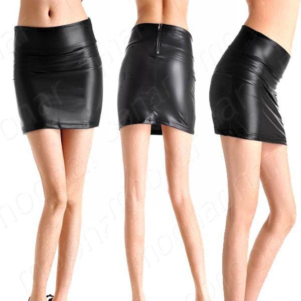 Women PU Leather Skirt Mini Dress