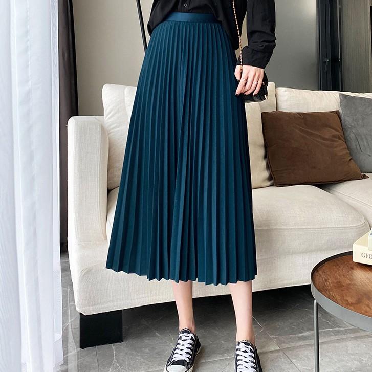 Chân váy xếp ly dáng dài hàng đẹp nhiều màu