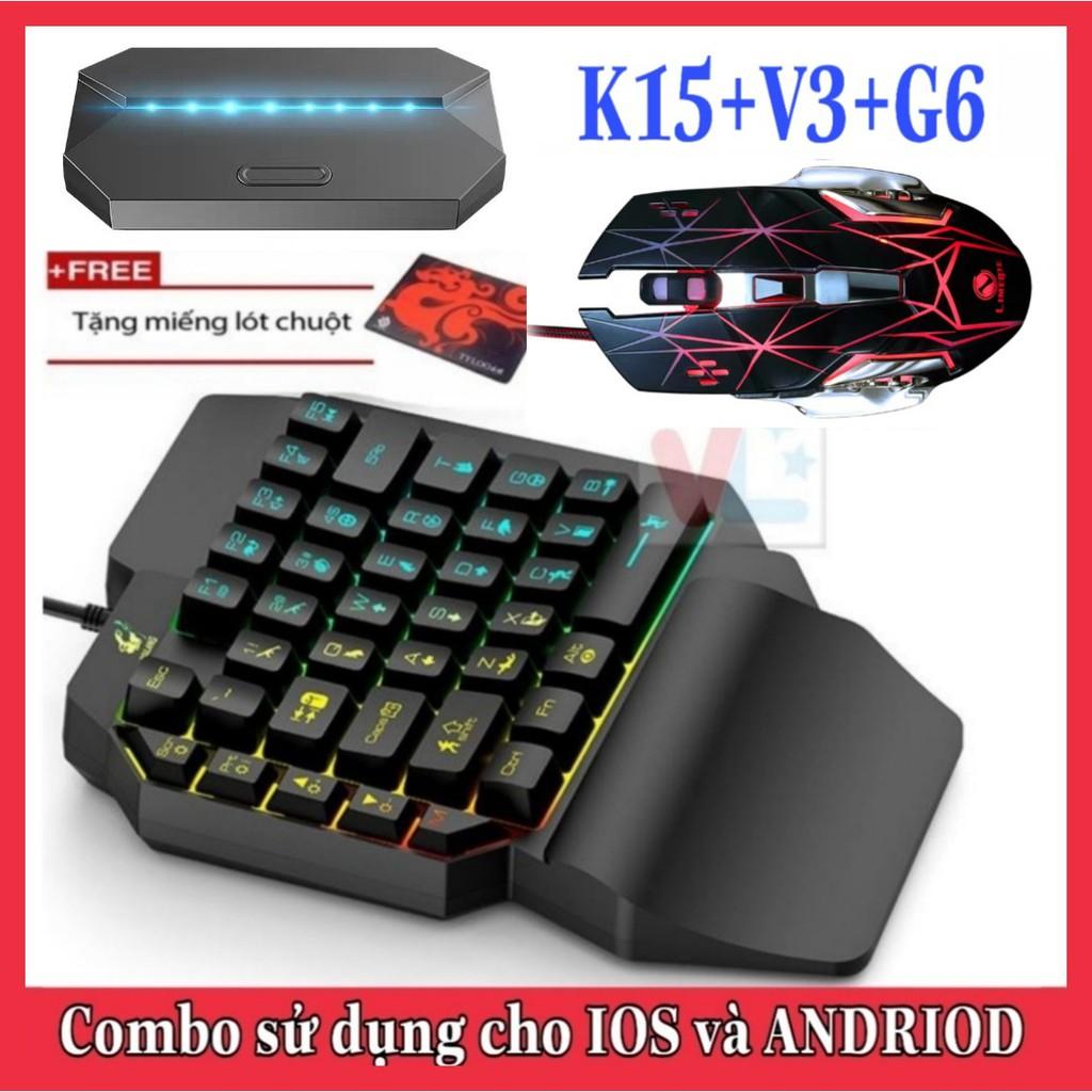 Combo Trọn Bộ Bàn Phím K15 + Chuột V3 + Hộp Chuyển Đổi G6 chơi game PUBG Mobile cho Android, IOS, iPad như PC - VL