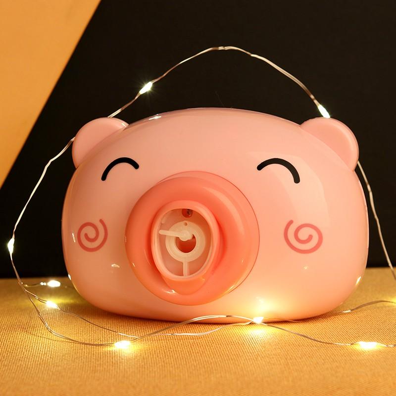Đồ chơi máy ảnh thổi bong bóng tự động có nhạc hình chú heo hồng đáng yêu cho bé