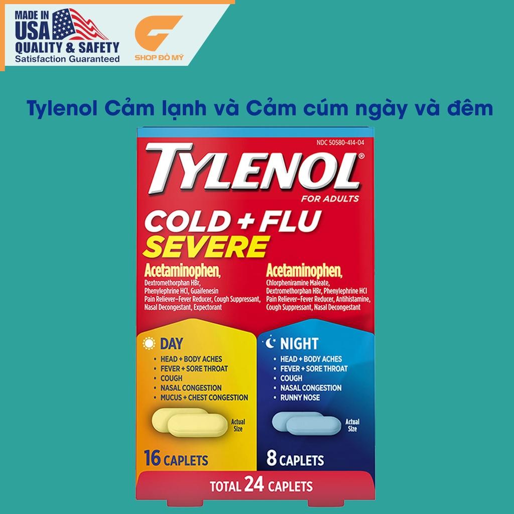 Viên uống Tylenol Cảm Cúm và Cảm Lạnh Ngày và Đêm, Tylenol Mỹ 24 viên