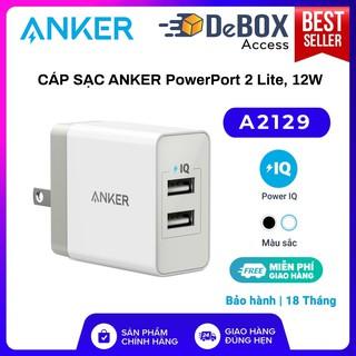 Sạc Anker 2 Cổng, 12w - [PowerPort 2 Lite, 2 x IQ port] - A2129 Bảo hành 18T chính hãng