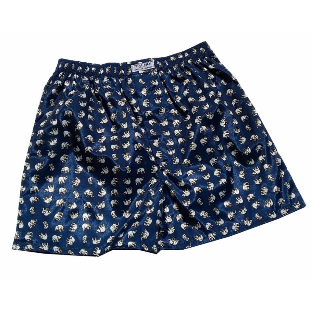 Underwear Pajamas Boxers สีดำพื้น 3ตัว  พิมพ์ลายช้างขาว 3 ตัว สีดำ ผ้าไหมเทียม กางเกงนอน กางเกงชั้นใน กางเกงใส่นอน กางเก