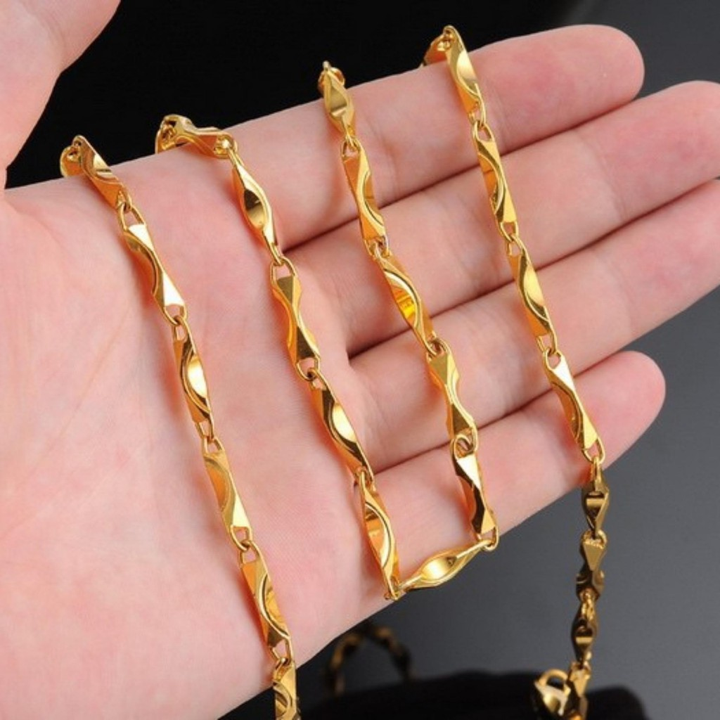 Dây chuyền xoắn nam mạ vàng 18k cao cấp phong cách Hàn Quốc