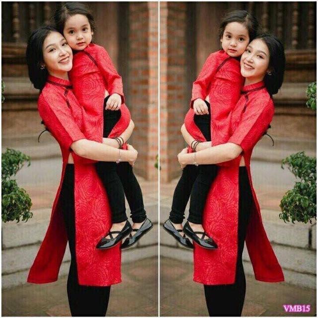 Áo dài gấm nổi mẹ và bé (mua lẻ sét Ok)