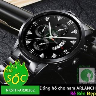 Đồng Hồ Cho Nam Mặt Tròn Dây Thép Không Gỉ  Khóa Gấp ARLANCH AR-30302 - NKSTH-AR30302
