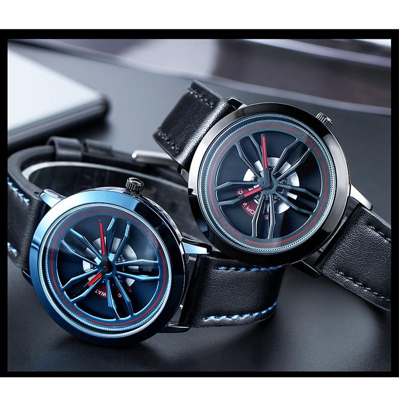 Đồng hồ nam mặt tròn dây da thời trang Hàn 2018