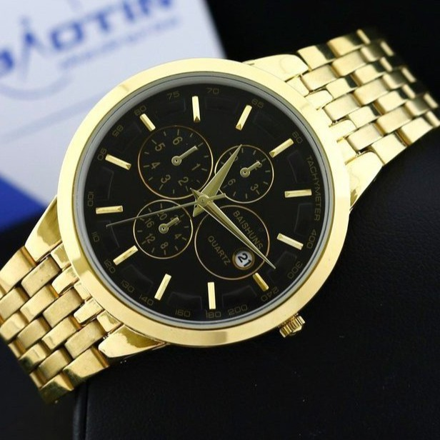 [Mã WTCHFEB giảm 20K ] Đồng hồ nam Baishuns nam mặt đen dây thép không gỉ ca
