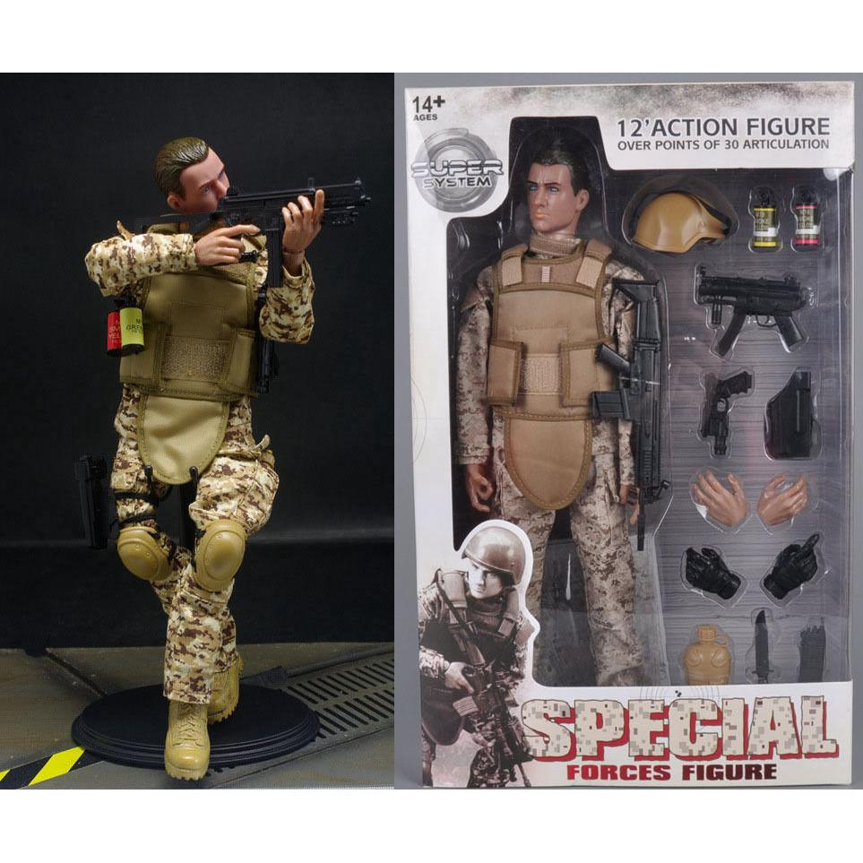 "Military 1/6 Scale Model 12"" Army Desert ACU Shooter Soldier Ranger Figures Toy"