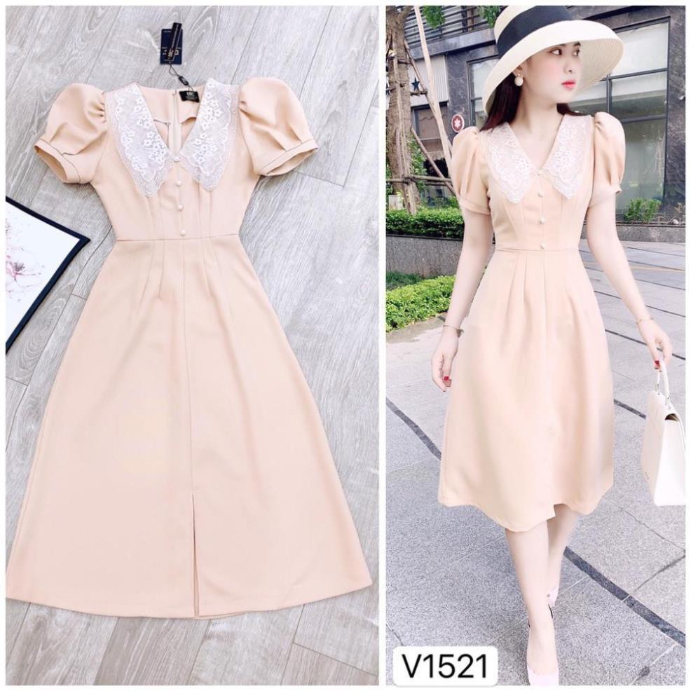 Đầm Váy Đẹp Thiết Kế DVC 💗 FREESHIP ❤️ Đầm be  cổ ren V1521