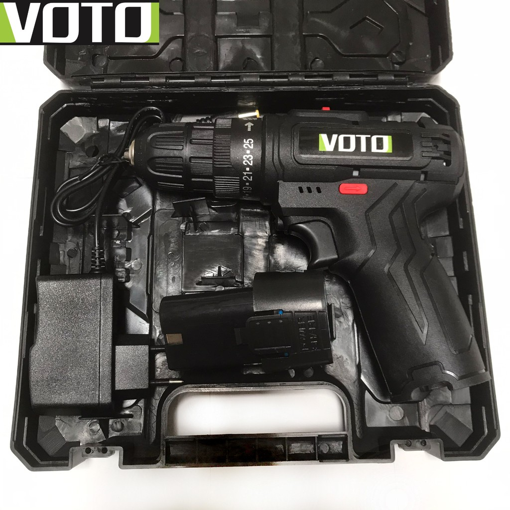 Khoan pin, máy bắt vít Voto 12v, 2 cấp tốc độ màu đen kèm hộp nhựa - Máy  khoan Nhãn hàng No brand