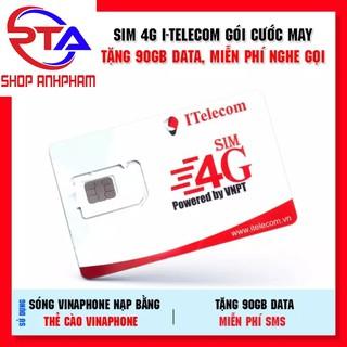 SIM 4G I TELECOM V77 CÓ 90GB/THÁNG+MIỄN PHÍ GỌI VINA