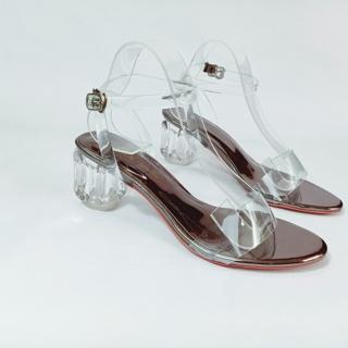 Giày Cao Gót Đế Trong Suốt Quai Hậu Tròn 5 phân - Boho Vintage Style