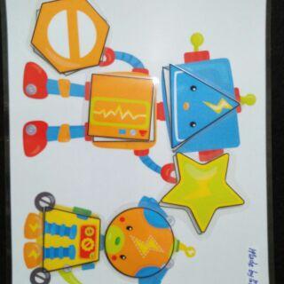 Học liệu cho bé: Hình khối Robot