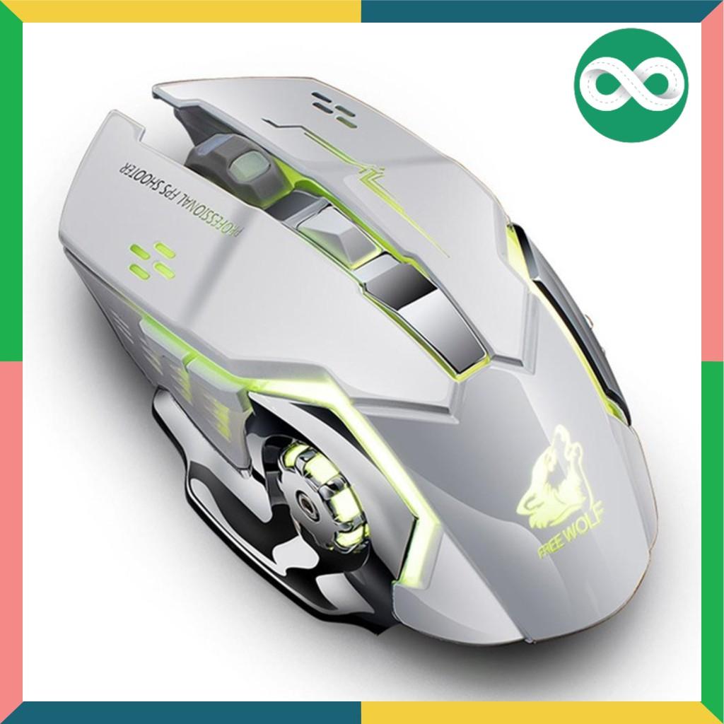 [Mã NOWSHIPVUIT4 giảm 20k đơn 50k] Chuột không dây chuyên game pin sạc Free Wolf X8 Led 7 màu -dc2867