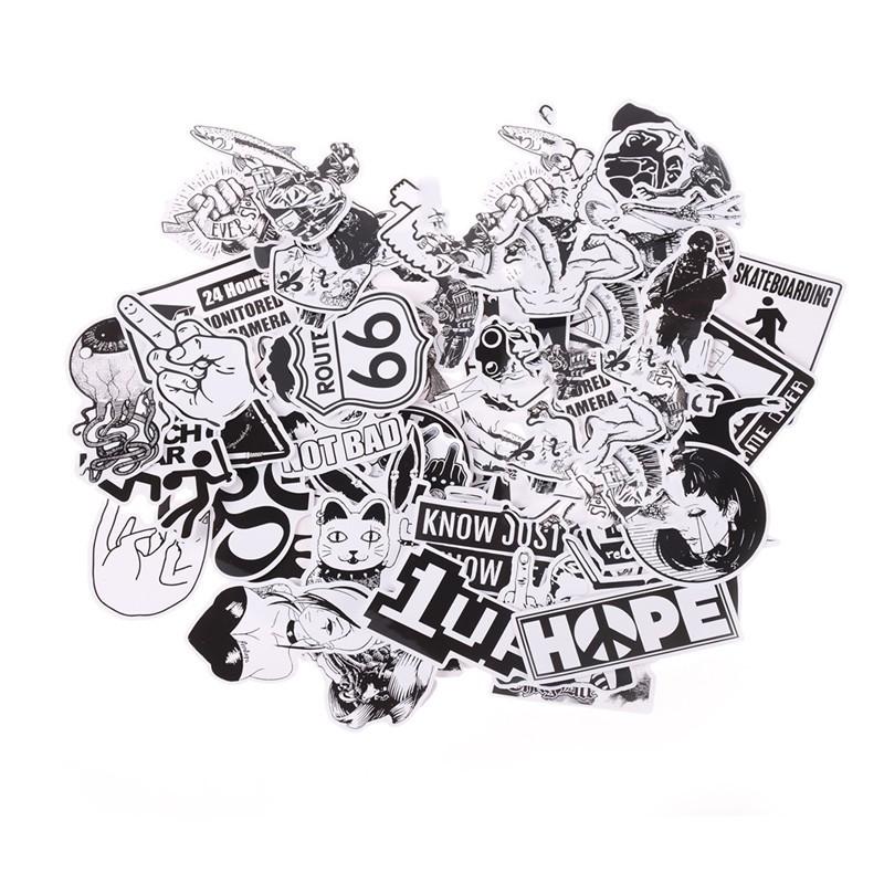 Specialhour 100Pcs Black and White Stickers Skateboard Luggage Laptop PVC Graffiti Stickers
