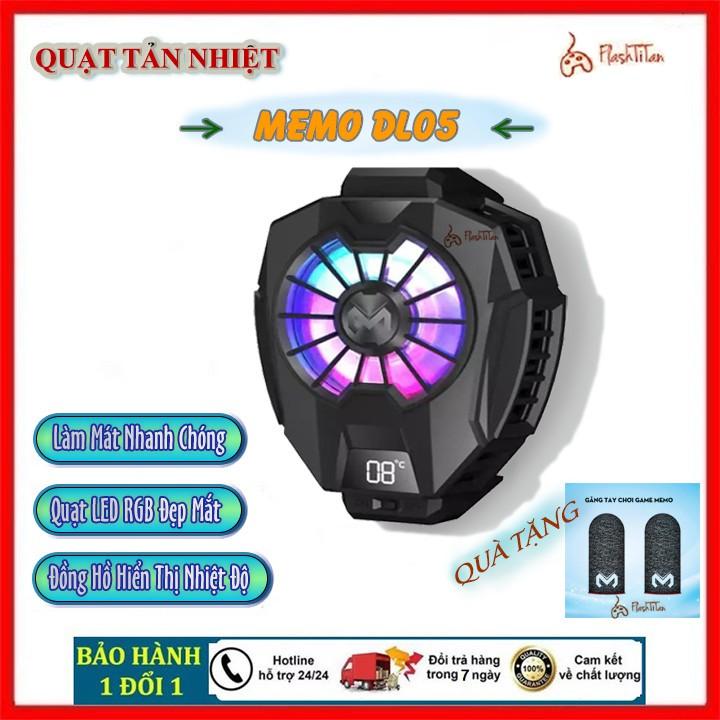Quạt Tản nhiệt điện thoại MEMO DL05 - Tản nhiệt điện thoại làm mát khi chơi game, Có đồng hồ hiện thị nhiệt độ siêu đẹp