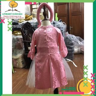 Hàng Tết 2021: Bộ áo dài lụa bé gái Litibaby có mấn, cho bé từ 12kg đến 25kg, bao gồm 1 áo dài, 1 chân váy, 1 mấn