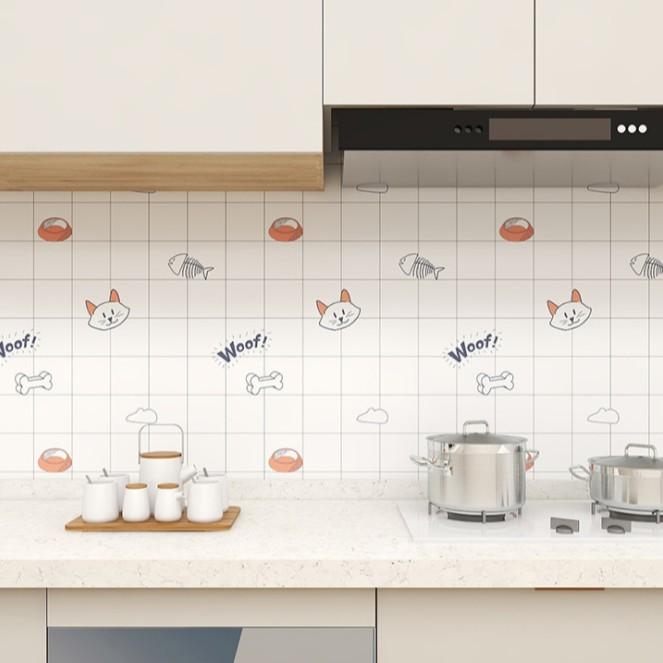1 mét decal dán tường bếp MÈO XƯƠNG CÁ khổ 60cm keo sẵn