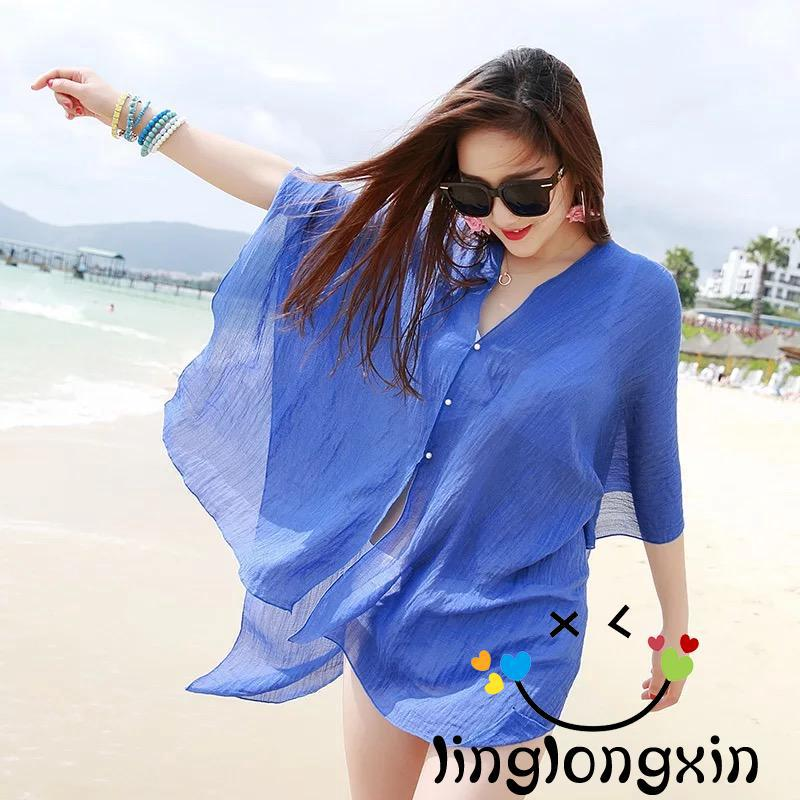 Ged♥Women Sexy Chiffon Bikini Cover Up Beach Swimwear Scarf Pareo Sarong Wrap