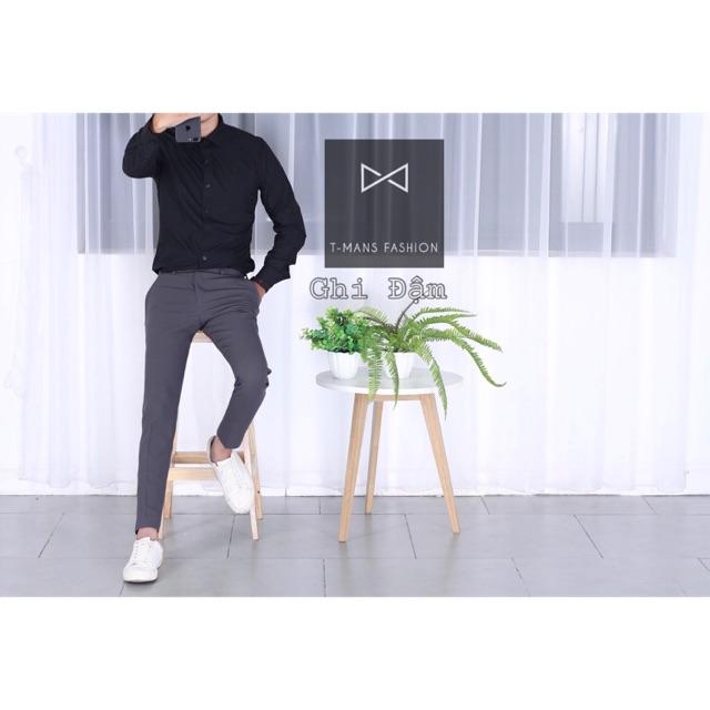 Quần âu nam màu xám ( ghi) chất vải co giãn, không phai màu, không xù lông kiểu dáng ôm body Hàn quốc