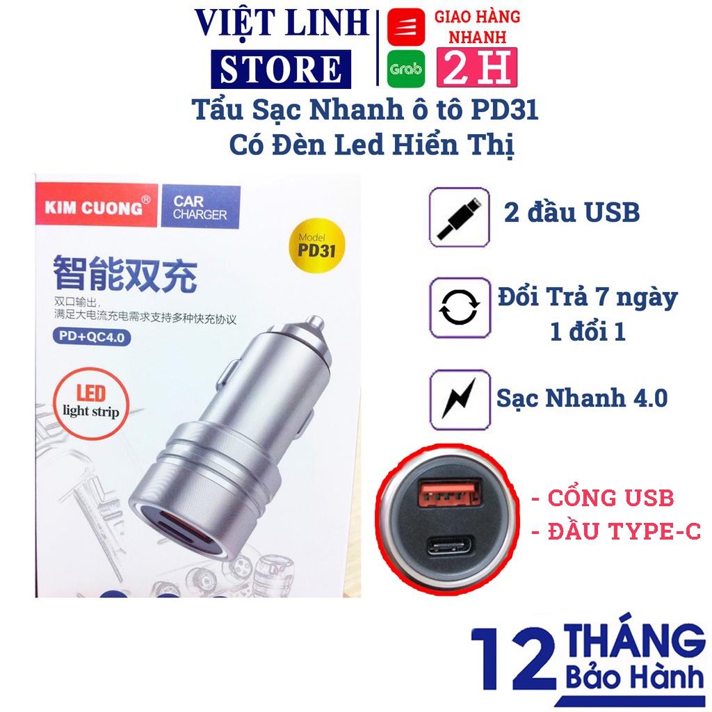 Tẩu sạc nhanh xe hơi ô tô ,củ sạc xe hơi kim cương đầu type-C USB - PD31  quick charge 4.0 kèm LED - Việt Linh Store - Cốc sạc USB, Thiết