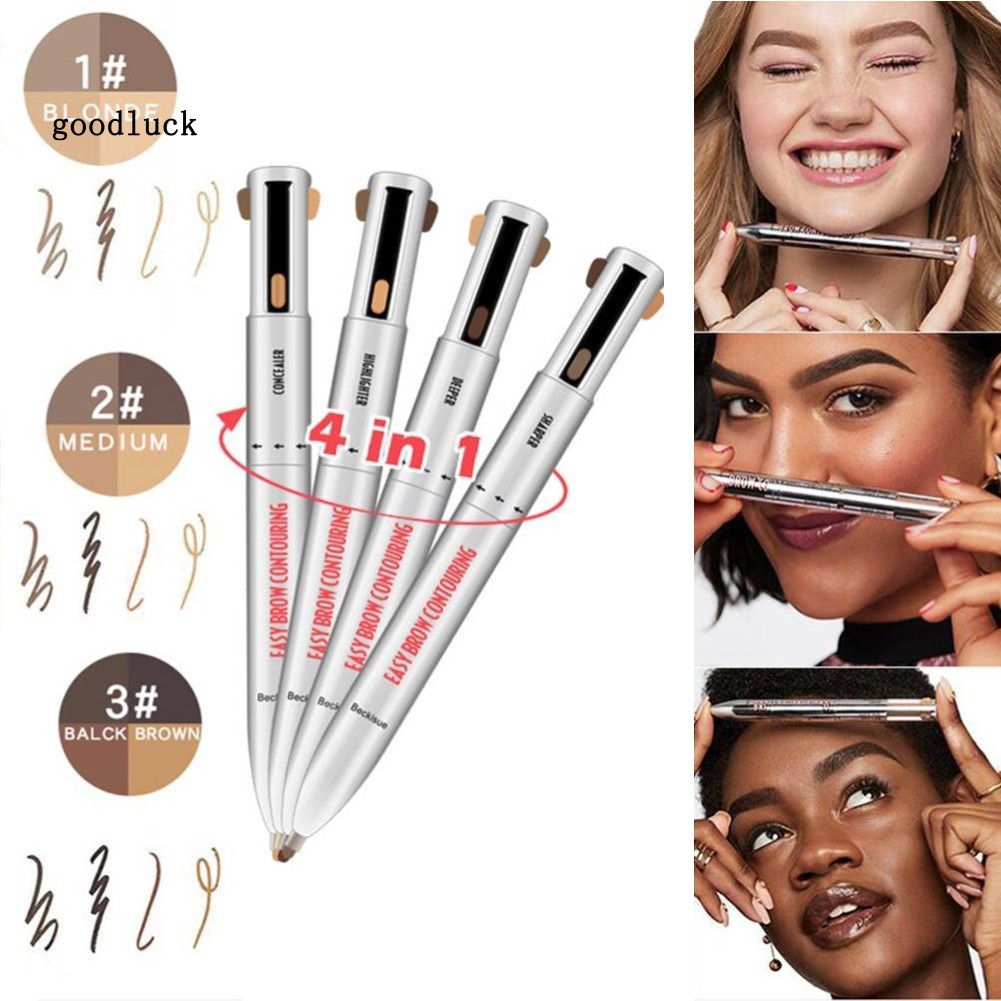 GLK_4 in 1 Pro Rotating Eyebrow Pencil Waterproof Sweat-proof Long Lasting Cosmetic