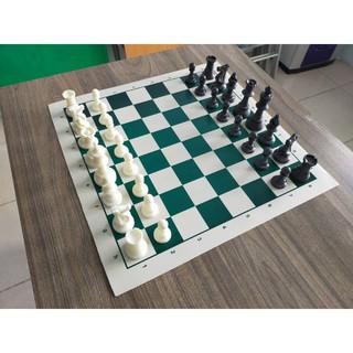 Bộ cờ vua thi đấu quốc tế bền đẹp size lớn, bàn giả da in hấp nhiệt