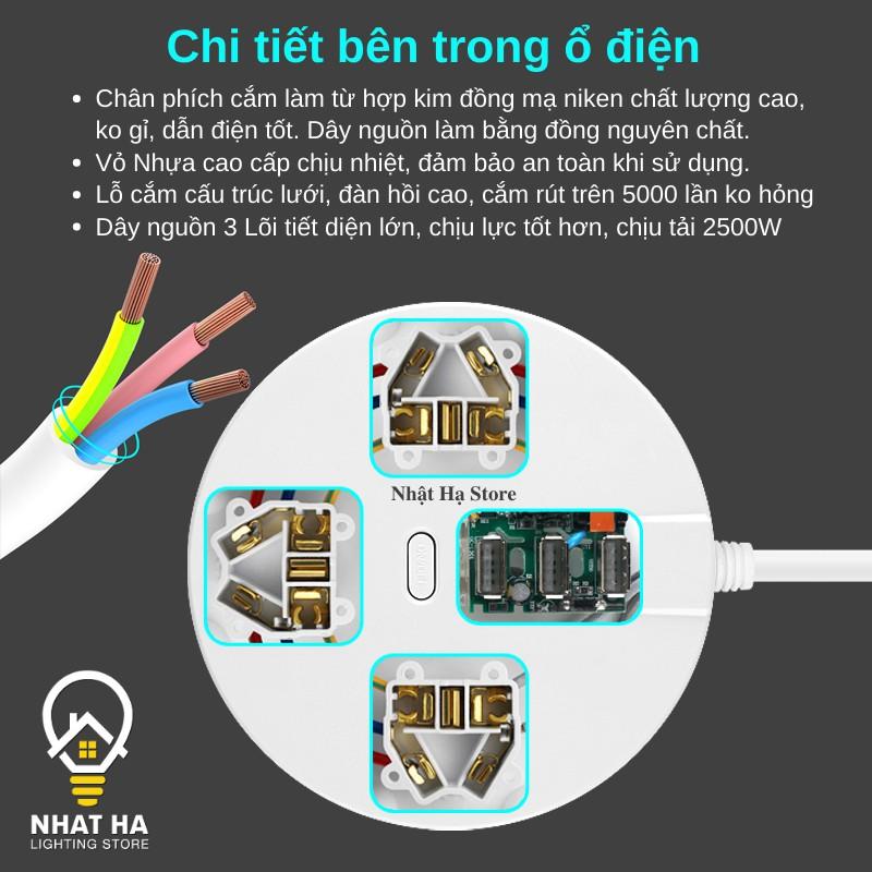 Ổ Cắm Điện USB Đa Năng Tròn Dây Dài 2m8 Có Nắp Bịt An Toàn Chống Giật Chịu Tải Lớn 2500W