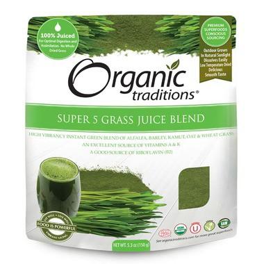 Bột nước ép 5 loại mạ hữu cơ Organic Traditions 150g