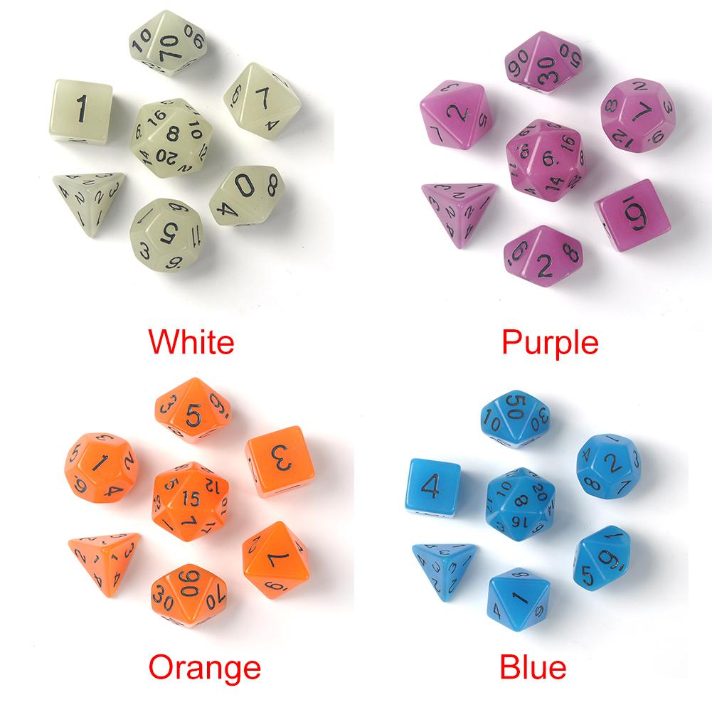 Glow in The Dark 7pcs/set Multi Sides Dice 4 Color TRPG Game Dungeons & Dragons Luminous