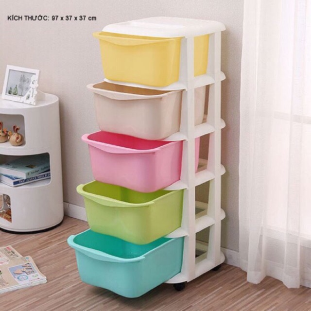 Tủ nhựa ngăn kéo 5 tầng sắc màu ( LOẠI 1 )