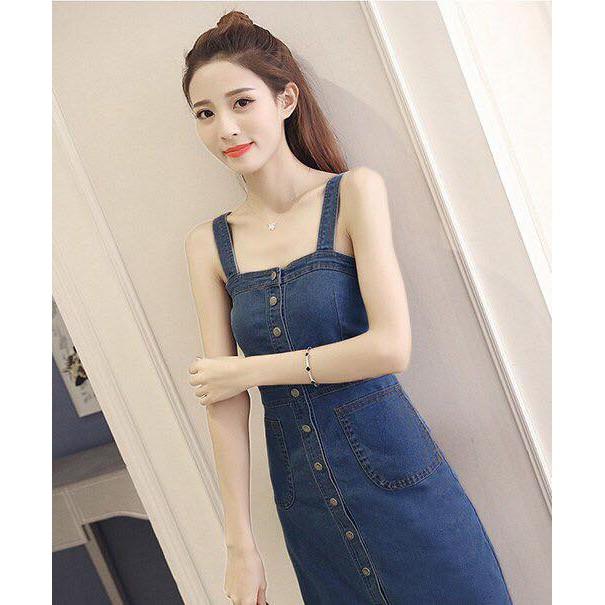 Đầm Jeans Nữ Cài Nút Sang Trọng