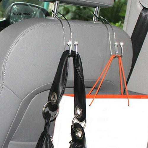 VVMS_2Pcs Hook Hang Coat Grocery Bag On Car Seat Back Auto Headrest Hanger Organizer