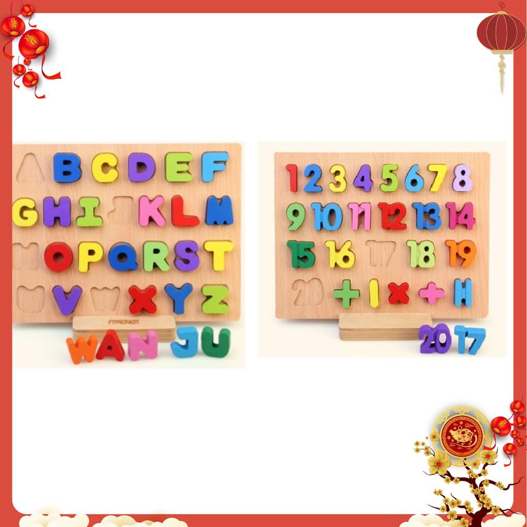 Combo 2 bảng chữ in hoa và số 1-20 bằng gỗ