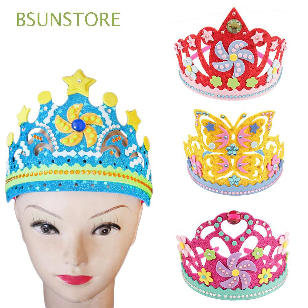 Kids Gifts EVA Foam Paper sequins Flowers Stars Kindergarten DIY Crown Kits